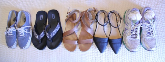 I bring a lot of shoe choices because they drive the dress, polish, and functionality of an outfit
