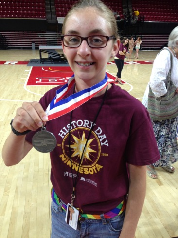 Grace with her Silver Medal.