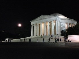 At the Jefferson Memorial - a full moon was rising, and it was a glorious night for Grace to see the National Mall for the first time!