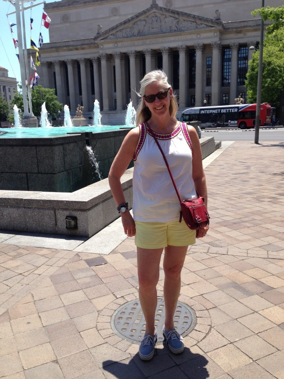 At the National Archives. Vans sneakers are super comfy for a lot of walking and great with shorts, dresses, skirts, and cropped pants!