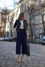 leather jacket and culottes
