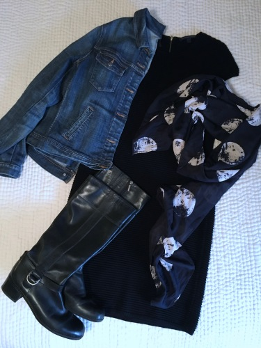 ndwc_navy and black_dress denim jacket scarf flatlay