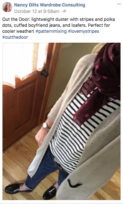 ndwc_#outthedoor_boyfriend jeans long cardigan stripes and polka dots