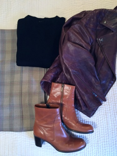 ndwc_plaid pants leather jacket flatlay