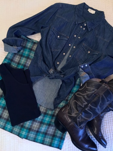 ndwc_plaid skirt denim shirt flatlay
