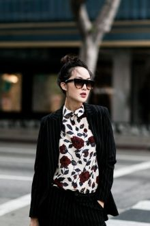 bold print blouse outfit