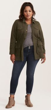 military green utility jacket outfit
